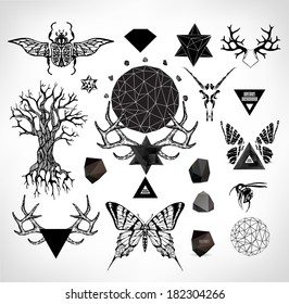 Abstract  gothic sacral illustration with polygon,  crystal design element, symbol, sign for tattoo