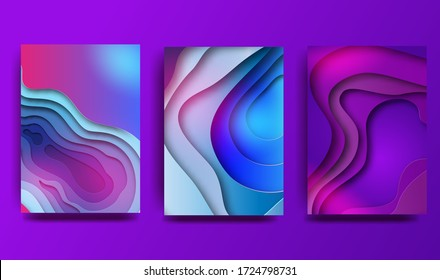Abstract gradient background with geometric shapes and curved lines. Holographic effect. Design of covers, posters, wrapping paper. Vector illustration