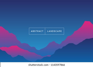 Abstract gradient background landscape. Vector illustration of beautiful mystery sunset mountain terrain. Modern cover template.