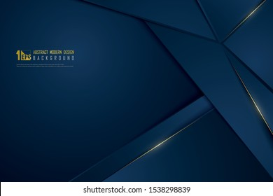 Abstract gradient blue luxury golden line template premium background. Decorating in pattern of premium polygon style for ad, poster, cover, print, artwork. illustration vector eps10