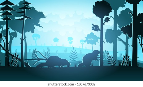 Abstract Gradient Blue Sky Color Forest Background With Tree And Beavers Vector Design Style Silhouette Nature Landscape