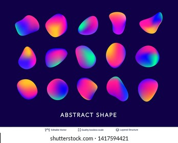 Abstract gradient elements set. Organic flowing liquid shapes isolated on white. Modern vector design template.
