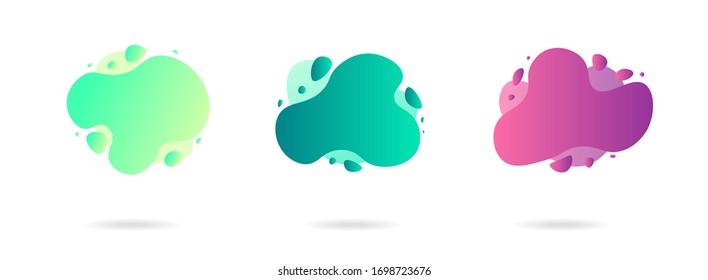 Abstract gradient graphic elements in modern style. Banners with flowing liquid shapes, amoeba forms. Logo, flyer, presentation, invitation, card template. Vector illustration.