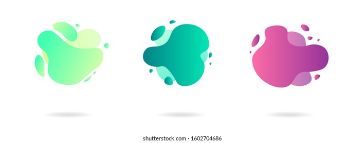 Abstract gradient modern graphic elements. Banners with flowing liquid shapes. Logo, flyer, presentation, invitation, card template. Vector illustration.