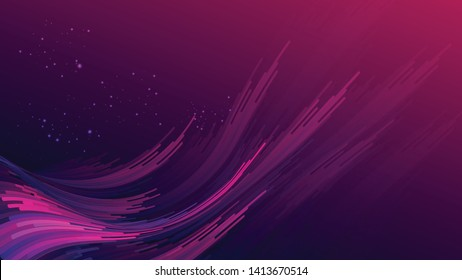 Abstract gradient purple pink curve wave stripes with glitters on gradient dark purple  pink background. Size ratio 1920x1080 px. EPS10, vector, illustration.