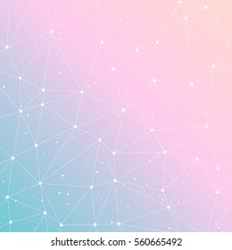 Abstract gradient tender vintage background. Polygonal pattern. Blue, pink colors. Vector illustration.