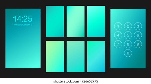 Abstract gradient texture set, vector illustration. Smartphone lock screen ui, ux template backgrounds. Blurred mint, turquoise, blue soft colors isolated on black.