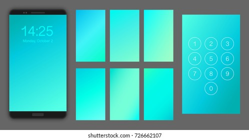 Abstract gradient texture set, vector illustration. Smartphone screen ui, ux template backgrounds. Blurred mint, turquoise, blue colors. Realistic black smartphone mockup.