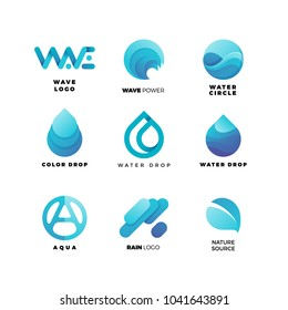 Abstract gradient water logo set. Aqua  wave geometric logo vector illustration. Nature elements, alternative energy and renewable energy logo.