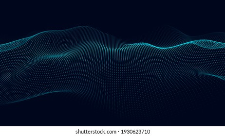 Abstract gradient wave of particles. Big data. Digital background. Futuristic vector illustration.