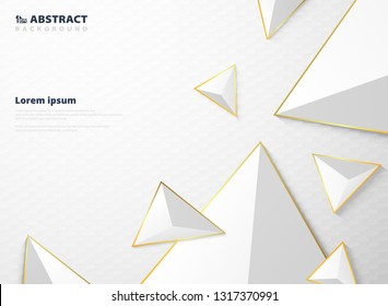 Abstract gradient white triangle polygon pattern with golden frame background. Modern futuristic in luxury presentation style. Using for ad, poster, brochure, print, cover. vector eps10