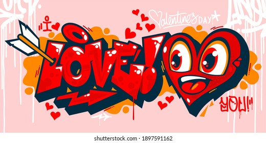 Abstract Graffiti Style I Love You With Hearts Text Lettering. Vector Illustration Art For Happy Valentines Day Or Wedding