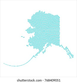 Abstract graphic Alaska map of blue round dots. Vector illustration eps10.