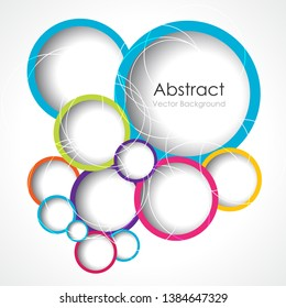 Abstract graphic background with colorful rings.