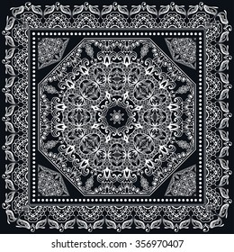 Abstract graphic background, square pattern with Mandala geometric ornament. Bandanna shawl fabric print, silk neck scarf or kerchief design, black and white vector illustration.