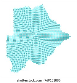 Abstract graphic Botswana map of blue round dots. Vector illustration eps10.
