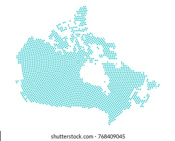 Abstract graphic Canada map of blue round dots. Vector illustration eps10.