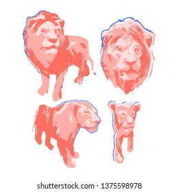 Abstract graphic collection of four isolated lions, male, female and cub. Vector illustration drawn in the technique of rough brush