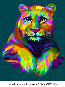 Abstract, graphic, colorful in neon colors artistic portrait of a lioness on a dark green background.