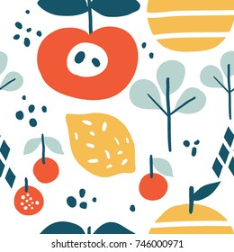 Abstract graphic design with lemon, apple and cherry. Trendy creative seamless pattern with hand drawn fruits, berries and leaves. For modern and original textile, wrapping paper, wall art