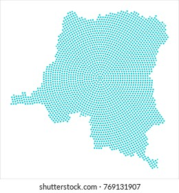 Abstract graphic DR Congo map of blue round dots. Vector illustration eps10.