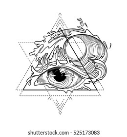 Abstract graphic eye decorated with storm waves. Sacred geometry. Blackwork tattoo or t-shirt design. Coloring book page for adults. Vector art isolated on white background.
