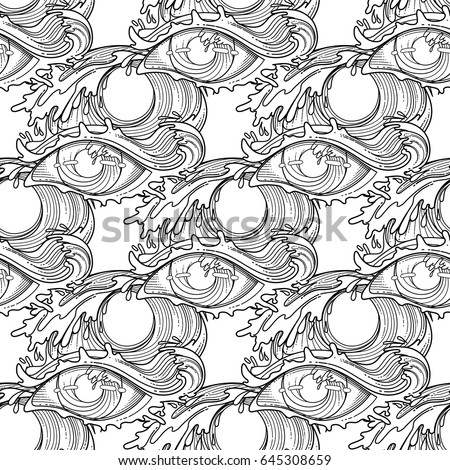 Abstract Graphic Eye Decorated Storm Waves Stock Vector (Royalty ...