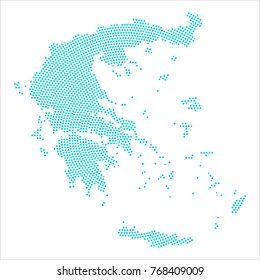 Abstract graphic Greece map of blue round dots. Vector illustration eps10.