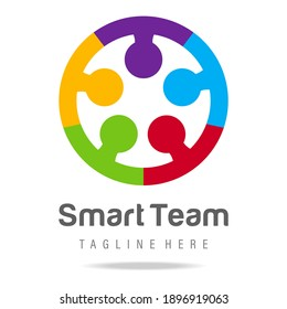 Abstract graphic logo smart team work together business human circle with connect communication community people.Design template icon group friendship.Team Building sign,symbol unity, education.Vector