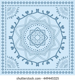 Abstract graphic mandala background, square geometric lace pattern with ornate frame, tribal ethnic ornament. Bandanna shawl fabric print, silk neck scarf or kerchief design, vector illustration.