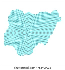 Abstract graphic Nigeria map of blue round dots. Vector illustration eps10.