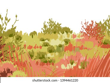 Abstract graphic steppe view drawn in the technique of rough brush. Vector landscape in calm colors