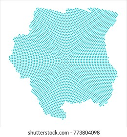 Abstract graphic Suriname map of blue round dots. Vector illustration eps10.