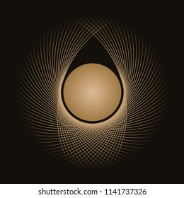 abstract graphic symbols with curved nest and egg in gold on black