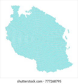 Abstract graphic Tanzania map of blue round dots. Vector illustration eps10.