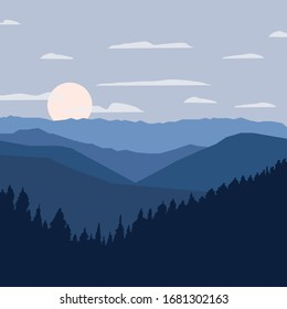 Abstract graphic vector illustration of a landscape of a dense forest, a ridge of mountains, the sun and clouds