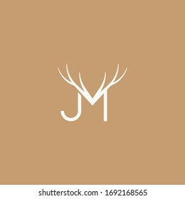 Abstract graphic vector illustration of two letters J and M with a pattern in the form of deer horns