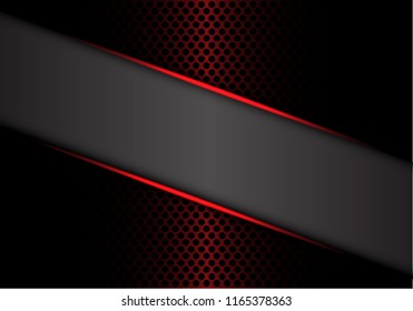 Abstract gray banner red metallic line on dark metal circle mesh design modern luxury futuristic background vector illustration.