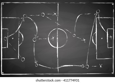 abstract gray black board soccer field background with white marks