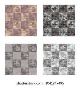 Abstract gray brown squares seamless pattern set , texture background