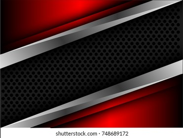 Abstract gray circle mesh silver line on red metallic design modern luxury futuristic background vector illustration.