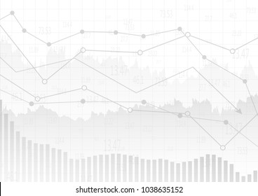 Abstract gray financial chart with up trend line graph and bar chart in stock market on white color background.Vector illustration.