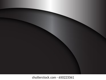 Abstract gray metal curve design modern luxury background vector illustration.