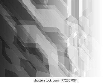 Abstract gray polygon on blue white light design modern futuristic technology background vector illustration. light design modern futuristic technology background vector illustration.