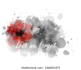 Abstract gray watercolor paint splash with red painted poppy. Lest we forget. Remembrance day or Anzac day symbol.