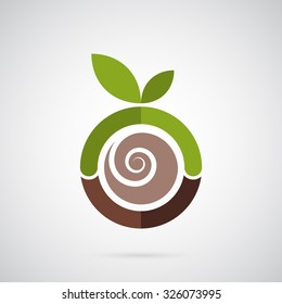 Abstract green apple logo template. Spiral seed inside the apple. Creative symbol for company identity, advertising, poster, banner, web and flyer.