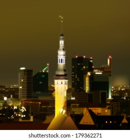 abstract green background with cityscape of Tallinn
