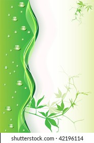Abstract green background with drops. Vector illustration.
