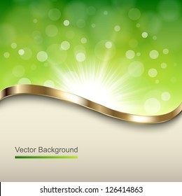 Abstract green background with gold wave, vector.