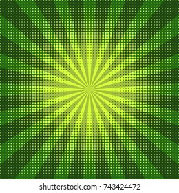Abstract green background with halftone.  Pop art retro style background with dots and rays, vector illustration